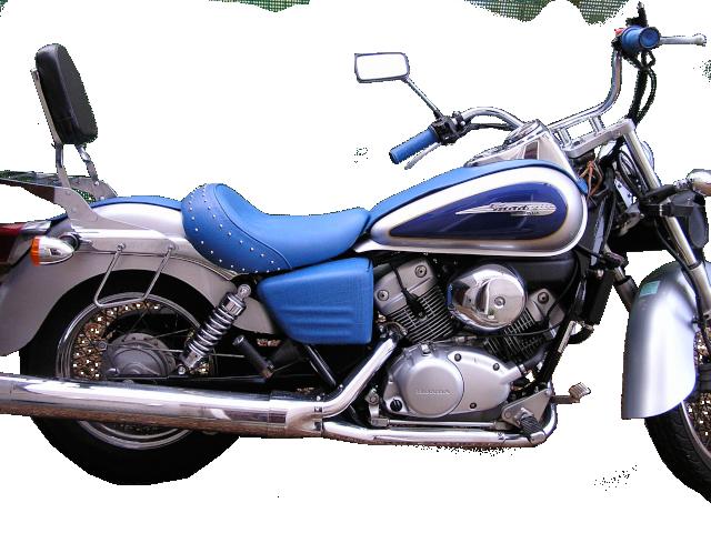 Ensemble cuir de buffle bleu pour Honda Shadow