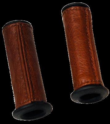 Poignées cuir base caoutchouc, couture droite, pour Triumph Bonneville T100.
