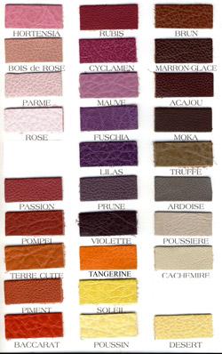 Planche couleurs cuir N°2