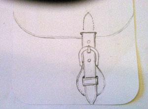 Croquis d'étude du montage de la boucle avec enchappure ronde.