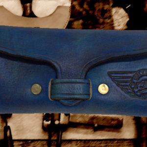 Etui pour une paire de lunettes en cuir vintage bleu