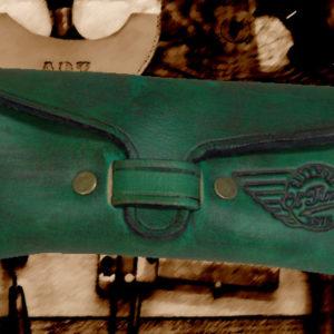 Etui à lunettes en cuir vintage coloris vert