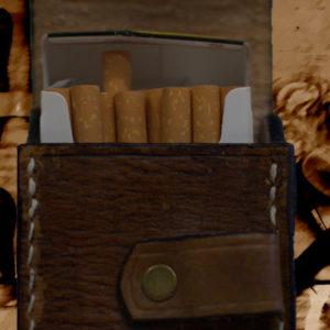Etui pour paquet de cigarettes en cuir vintage havane
