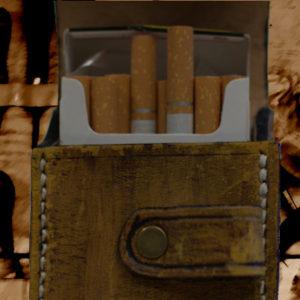 Etui pour paquet de cigarettes en cuir vintage jaune