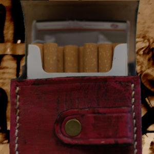 Etui pour paquet de cigarettes en cuir vintage rouge