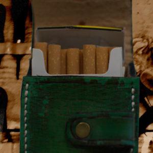 Etui pour paquet de cigarettes en cuir vintage vert
