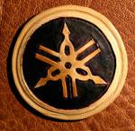 Patch logo Yamaha cuir repoussé main