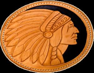 Tête indien en cuir repoussé main