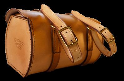 Sacoche outil moto Indian avec dés et courroies de fixation sur fourche.