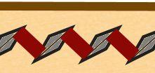 L'orientation du fil avec l'alène losange se fait en diagonale par rapport au sens de la couture. Ainsi les incisions de l'alène ne se rejoignent pas lors de la tension.